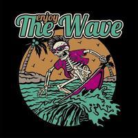 scheletro surf sull'onda in cornice circolare vettore