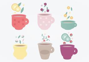 Insieme di vettore delle tazze di tè