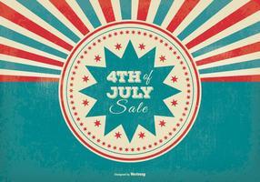 Retro stile dello sprazzo di sole la quarta illustrazione di vendita di luglio vettore