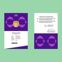 modello di carta d'identità verticale viola semplice forma rotonda