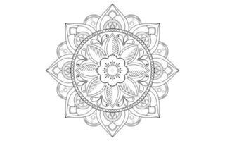 mandala linea fiore in bianco e nero vettore