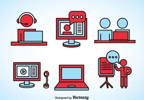 Icone di elemento di webinar vettore