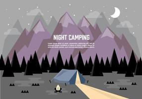 Fondo di campeggio di vettore dell'illustrazione del paesaggio