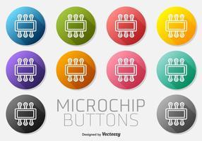 Insieme di vettore dei bottoni dell'icona del microchip