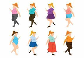 Set di donne grasse vettore