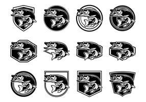 Pike Fish Logo Vector Pack gratuito
