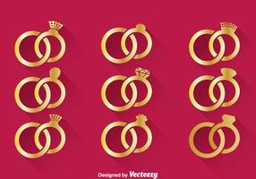 Vettore di anello d'oro di nozze