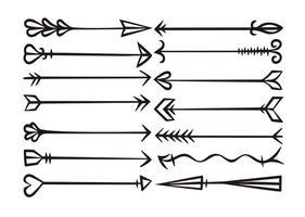 Set di frecce disegnate a mano di vettore