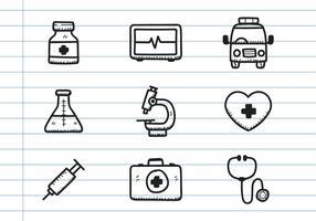 Icona medica Doodle vettore