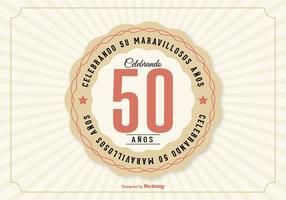 50 ° anniversario Illustrazione in lingua spagnola vettore