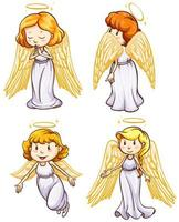 semplici schizzi di angeli impostati vettore