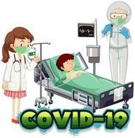 poster di coronavirus con ragazzo malato nel letto d'ospedale