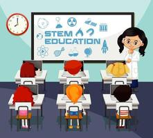 insegnante di scienze che insegna agli studenti in aula vettore