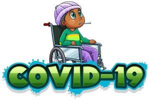 segno covid-19 con ragazzo malato in sedia a rotelle vettore