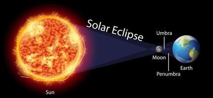 diagramma che mostra l'eclissi solare sulla terra vettore