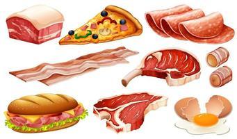 set di diversi prodotti a base di carne e cibo vettore