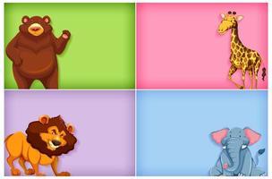 modello di sfondo di colore solido impostato con gli animali