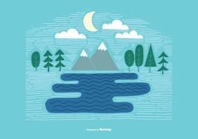 Vettore di paesaggio di montagna lineare