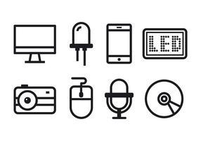 Set di icone di tecnologia vettore