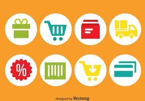 Icone del cerchio dello shopping online vettore