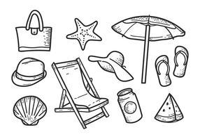 Icone disegnate a mano libera della spiaggia vettore