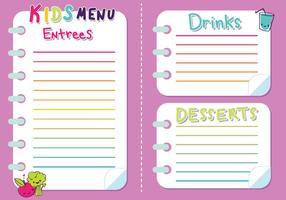 Ragazze di vettore del menu dei bambini
