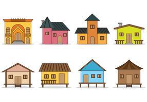 Set di icone vettoriali baracca