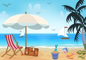 Spiaggia a tema vettoriale