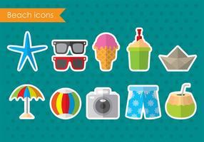 Icone colorate spiaggia vettoriale
