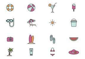 Set di icone spiaggia contorno vettore