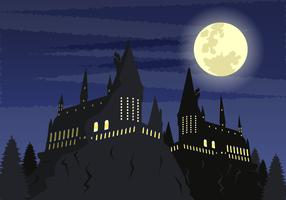 Scuola spettrale del castello al chiaro di luna vettore