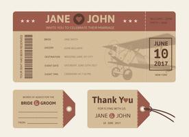 Biglietto aereo matrimonio retrò vettoriale