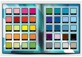 Stampa della tavolozza dei colori in un libro vettore
