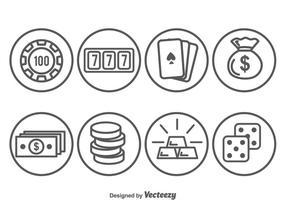 Icone del cerchio elemento casinò vettore
