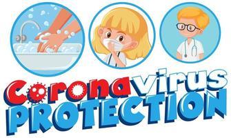 poster di coronavirus con '' protezione coronavirus '' vettore