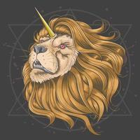 testa di leone con corno di unicorno d'oro vettore