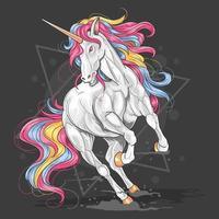 unicorno in esecuzione con i capelli arcobaleno