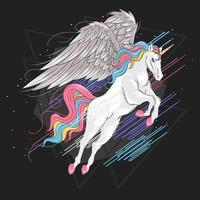 unicorno alato volante con i capelli arcobaleno