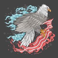 Aquila di fronte alla bandiera degli Stati Uniti