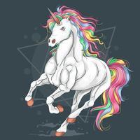 unicorno galoppante capelli arcobaleno