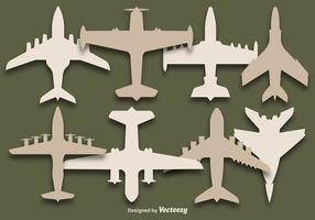Insieme di vettore delle siluette degli aeroplani