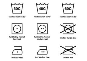 Vettore di simboli di lavaggio