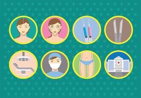 Icone di vettore di chirurgia plastica