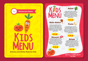 Carino colorato modello di menu per bambini vettore