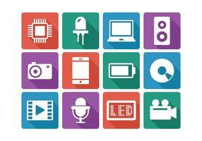Set di icone di tecnologia piatta vettore