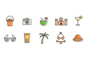 Vettore libero delle icone della spiaggia