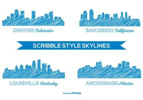Skyline della città in stile scarabocchio vettore