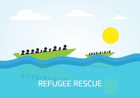 Liberi sulla barca del vettore di salvataggio