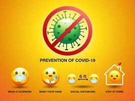 prevenzione del set di smiley covid-19