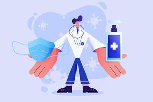 medico che mostra una maschera chirurgica e un gel per alcol